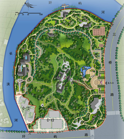 水景观总平面图; 滨水公园平面图