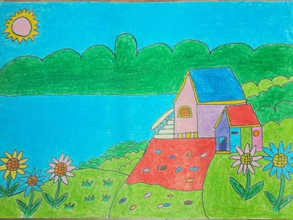 画美丽的漫画图片,儿童画家乡的画图片,关于家乡.主宰全集家乡大图片