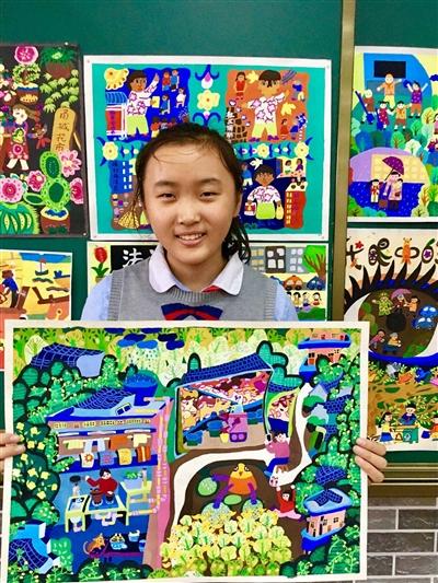 图为杜梦雪和她的作品.