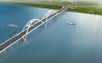结构:主桥采用下承式系杆拱—提篮拱桥,双主孔通航.-飞云江五桥