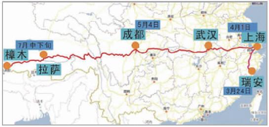 手绘的中国地图上