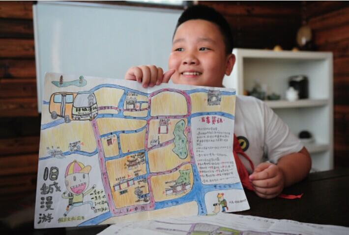 小学生手绘Q版五马老街导游图小学眉山电话v小学图片