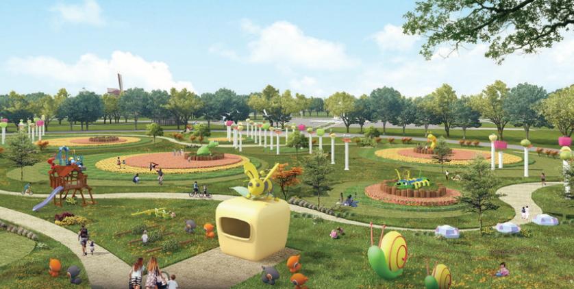 """""""虫虫王国""""效果图   日前,在外温商投资又有大手笔特色项目。鞍山汤岗子有个龙宫温泉景区,就在景区隔壁不远处,鞍山温州商会会长徐小艳征用2000亩土地,将打造一个新的景区——谷隆·中国农业迪士尼。   谷隆·中国农业迪士尼以生态开发为主,集科研、种植、旅游休闲为一体,是将花卉果树、蔬菜种植销售以及观光休闲集于一体的多功能休闲园区。项目总投资为4亿元,建设工期为3年。   整个规划区域划分为:""""一心、三环、四园&rdq"""